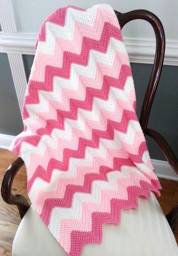Häkeln Baby Decke Baby Mädchen Decke Häkeln Ripple Decke rosa | Etsy