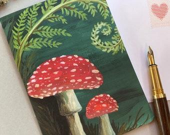 Where the Fairies Live Forest Mushroom Card   Gouache Illustration   Enchanted Garden   Blank Greeting