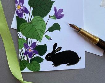 Violets and Black Rabbit Card   Gouache Illustration   Enchanted Woodland   Blank Greeting