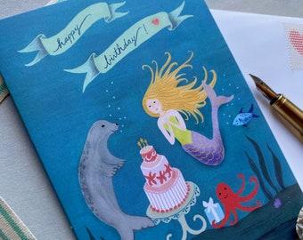 Happy Birthday Mermaid Card   Gouache Illustration   Enchanted Garden   Blank Greeting