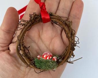 Sweet Forest Mushrooms Mini Wreath Ornament