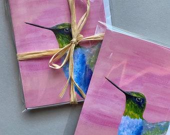 Hummingbird   Gouache Illustration   Enchanted Garden   Blank Greeting Card