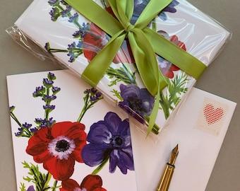 Anemone Flower Card   Gouache Illustration   Enchanted Garden   Blank Greeting