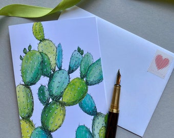 Cactus Card   Watercolor and Ink Illustration   Enchanted Garden   Blank Greeting