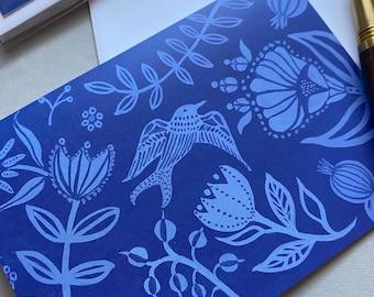 Indigo Garden Card   Gouache Illustration   Enchanted Garden   Blank Greeting Card