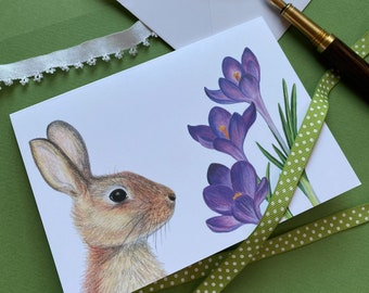 Crocus and Cottontail Rabbit Card   Colored Pencil Illustration   Enchanted Woodland   Blank Greeting