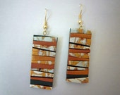 Earthy Crazy Stripe Earrings Polymer Clay in Pearl, Copper, Gold and Black