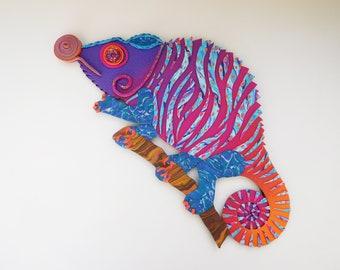 Custom Chameleon Polymer Clay Rainbow Clock or Wall Art. Whimsical Animal Clock.