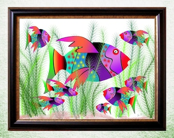 Whimsical Fish Art Printable Download. Printable in Many Sizes. Perfect Gift for Any Fish Lover.