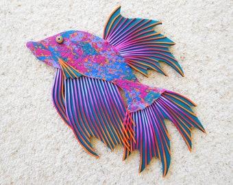 Betta Fish Clock or Wall Art in Colorful Custom Polymer Clay