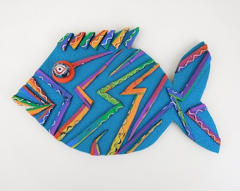 Polymer Clay Fish Magnet. Rainbow Magnet and Fridge Magnet. These Refrigerator Magnets are Really Art Magnets for your Home Décor.