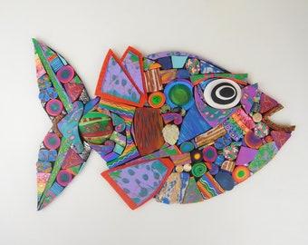 Large Mosaic Fish Wall Art in Rainbow Polymer Clay. Whimsical Animal Art. Custom If Not On Hand.