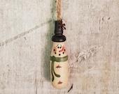 Primitive Snowman Ornament Rustic Snowman Ornament Wood Turning Country Ornament Primitive Christmas Wood Ornament Country Christmas
