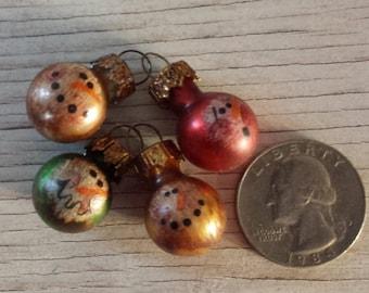 mini snowman ornament set primitive snowman ornaments fur tree ornaments primitive christmas country decor - Primitive Christmas Ornaments