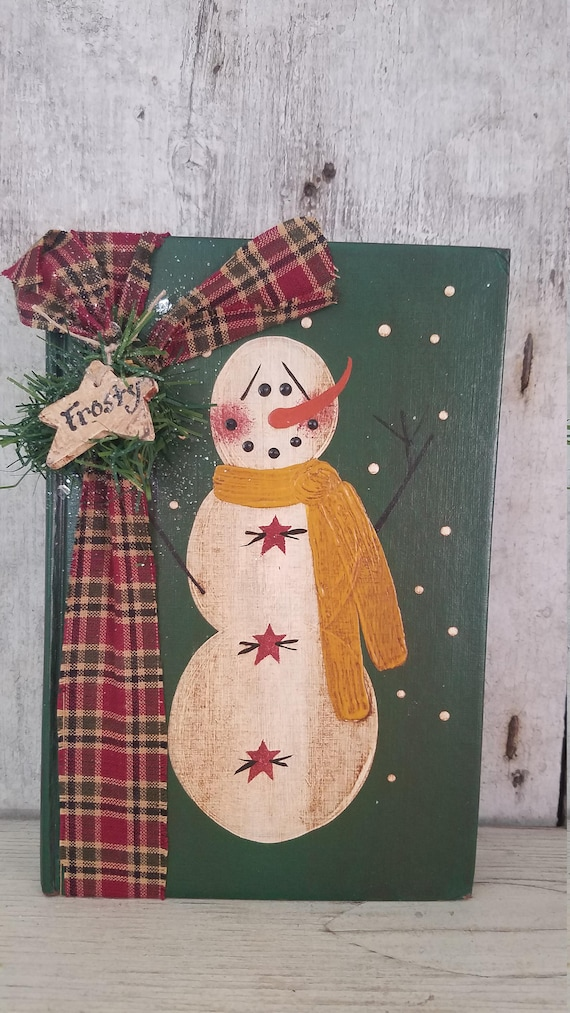 Primitive Holiday Christmas snowman shelf sitter