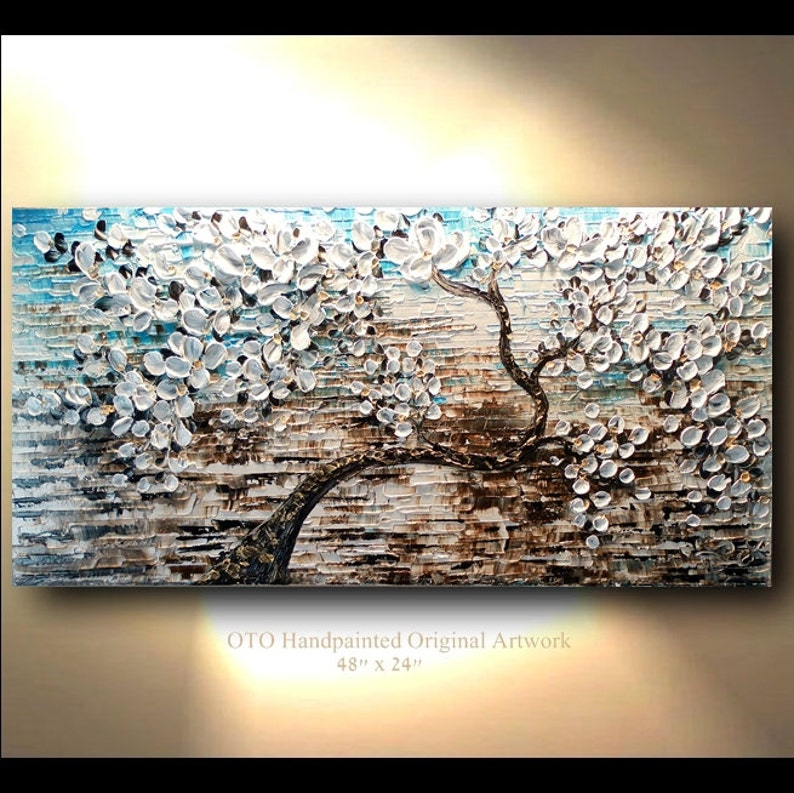 f68e1a74261 White Gold Brown Blue Flower Abstract Tree painting Art Canvas