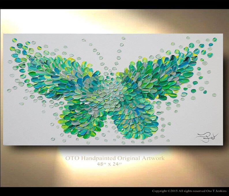 ec0c388e0de Custom Painting Butterfly Green textured modern contemporary