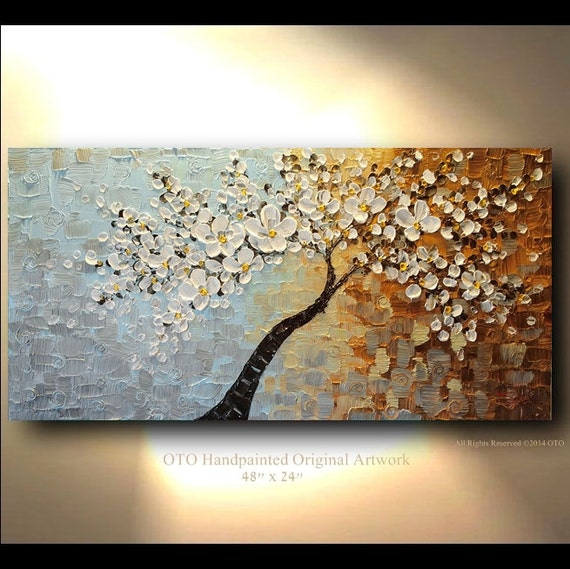 Original 60x30 Tree White Flower Oil Painting Abstract Blue Etsy