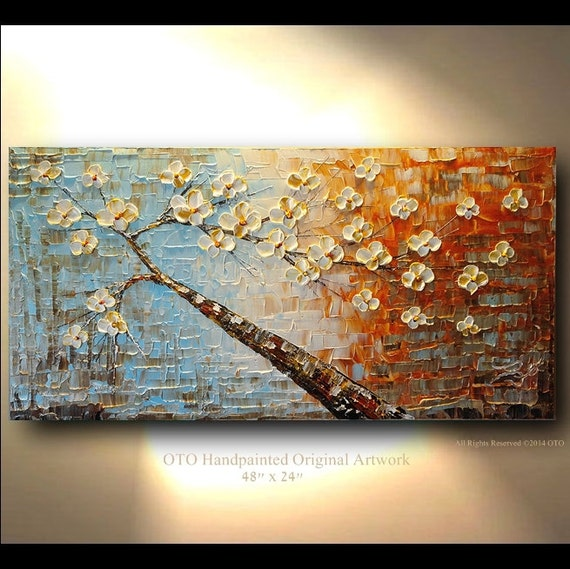 Original 48x24 Tree White Flower Oil Painting Abstract Blue Etsy