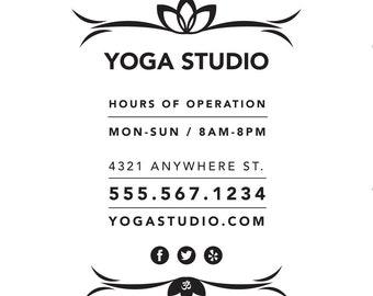 Store Hours / Yoga Studio / window decal / vinyl decal / yoga pose / business sign / om / namaste sign / flow / vinyasa