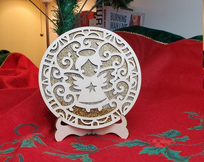 Wood Round Holiday Display