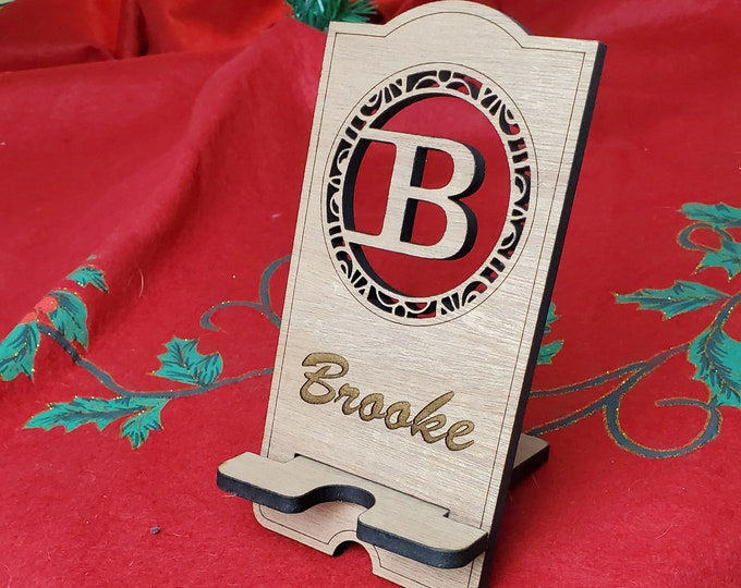 Cell Phone Wooden Stand with initial