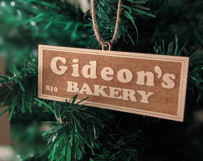 Hyper local holiday ornaments - Gideon's Baker and 180 Pinehurst.