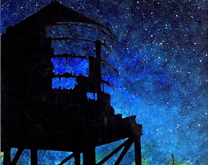 NYC landmark - Water tower night sky