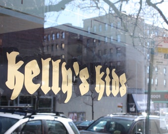 Business sign / window sign / vinyl sign / two color sign / gold sign / store name sign / letters sign