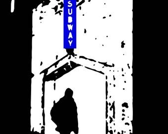 NYC landmark - Subway entrance with man