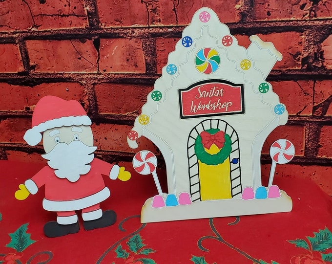 DIY Sant and Santa's Workshop Art project