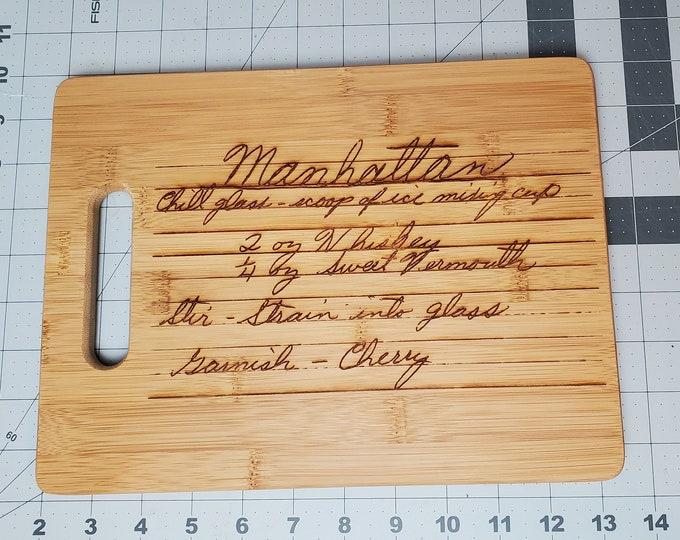 Custom natural bamboo cutting board with design
