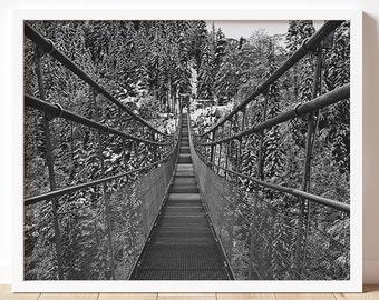 Bridge | B&W Fine Art Photography Print | Nature Photography Wall Art | Highline 179 Wall Art | Austria Art Prints | Suspension Bridge Art