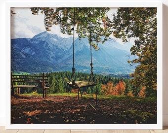 Swing | Fine Art Photography Print | Travel Photography | Wall Art | Garmisch-Partenkirchen | Germany | Fall Colors | Multiple Sizes