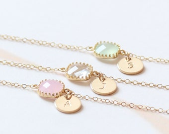 Dainty Bridesmaid Bracelet | Birthstone Initial Bracelet | Bridesmaid Gemstone Bracelet | Bridesmaid Proposal