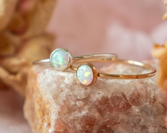 Opal Gemstone Ring | Gold Opal Stacking Ring | October Birthstone Ring | Dainty Gold Ring Gift for Her | Bridesmaid Gift