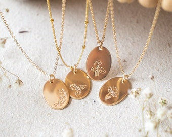 Birth Flower Necklace | Gold Flower Necklace | Personalized Floral Necklace | Christmas Gift for Mom | November Birthday Gift for Her