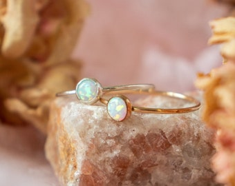 Opal Ring Silver | Opal Gemstone Ring | White Opal Ring | October Birthstone Gift | Dainty Minimalist Ring | Birthday Gift For Daughter