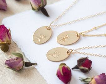 Birth Flower Necklace | Gold Flower Necklace | Birth Month Necklace | Personalized Floral Necklace | Birthday Gift for Her