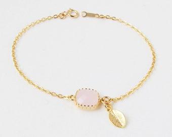 Personalized Birthstone Bracelet | Dainty Initial Bracelet | Bridesmaid Gemstone Bracelet | Aquamarine Bracelet