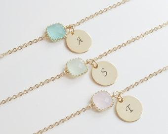 Dainty Bridesmaid Bracelet | Dainty Initial Bracelet | Tiny Initial Bracelet | Bridesmaid Initial Bracelet | Birthstone Bracelet | Wedding