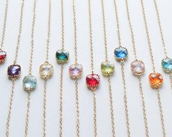 Birthstone Bracelet | Personalized Gift | Gemstone Bracelet | Dainty Bracelet | Birthday Gift for Sister | Bridesmaids Gift