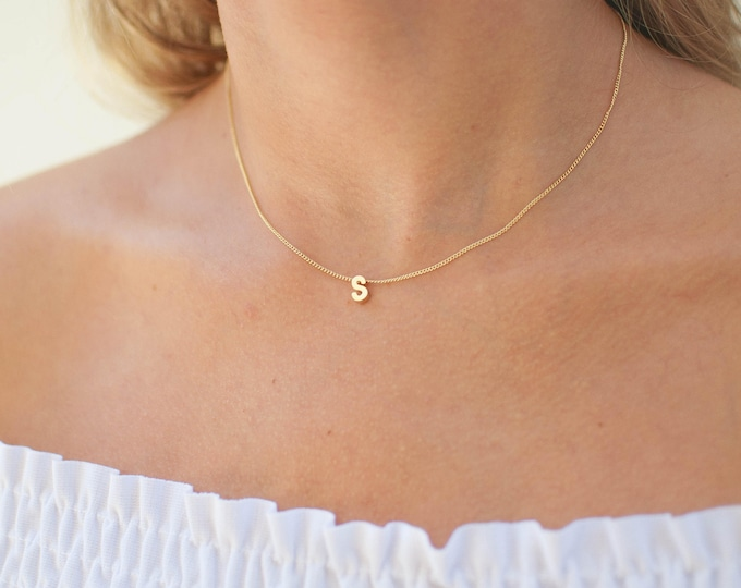 Featured listing image: Tiny Gold Block Letter Initial Necklace