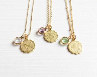 Zodiac and Birthstone Necklace | Horoscope Necklace | Personalized Jewelry | Dainty Zodiac Necklace | Zodiac Necklace Gold | Gift for Sister