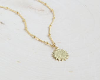 Sunflower Necklace | Flower Necklace | Botanical Jewelry | Boho Necklace | Boho Jewelry | Dainty Necklace |Layering Necklace | Gift for Her