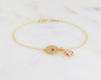 Birthstone Initial Bracelet | Personalized Bridesmaid Bracelet | Gold Stacking Bracelet | Swarovski  Birthstone Bracelet | Charm Bracelet