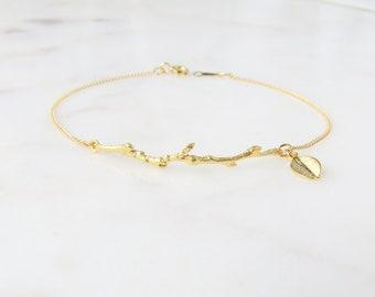 Gold Branch Bracelet | Personalized Leaf Bracelet | Boho Bracelet | Gold Layering Bracelet | Bridesmaid Gift | Gift For Mom