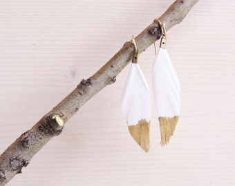 Gold Dipped Feather Earrings | Gold Dipped Feather | Gold Feather Earrings | Black Feather Jewelry | White Feather Jewelry | Feather Earring
