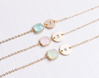 Dainty Personalized Bracelet | Bridesmaid Gold Initial Bracelet | Tiny Initial Bracelet | Dainty Initial Bracelet | Dainty Birthstone