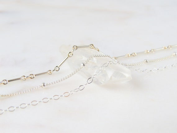 Silver Bracelet | Beaded Bracelet | Chain Bracelet | Minimalist Jewelry | Dainty Bracelet | Chain & Link Bracelet | Anklet | 0418B09